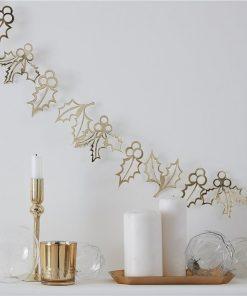 Gold Glitter Holly Garland