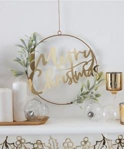 Gold Glitter Merry Christmas Foliage Hanging Hoop Wreath