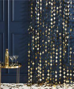 Gold Glitter Star Foil Backdrop Curtain