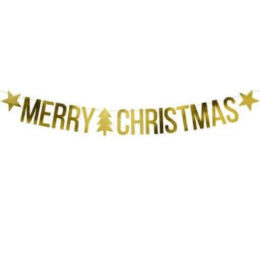 Gold Merry Christmas Banner