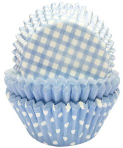 Baby Blue Patterned Cupcake Cases