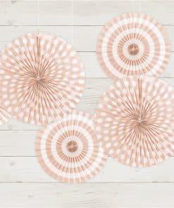 Light Pink Patterned Paper Fans