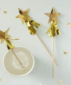 Gold Metallic Star Tassel Christmas Drink Stirrers