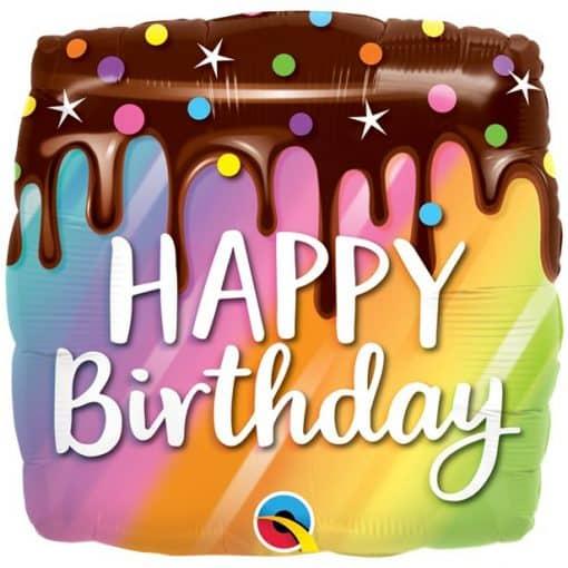 Rainbow Happy Birthday Cake Balloon