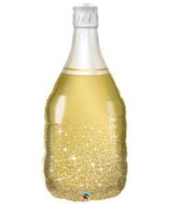 Sparkling Gold Wine Bottle Supershape Balloon