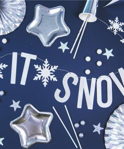 White Holographic Let It Snow Banner