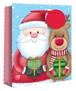 Extra Large Santa and Rudolph Christmas Gift Bag