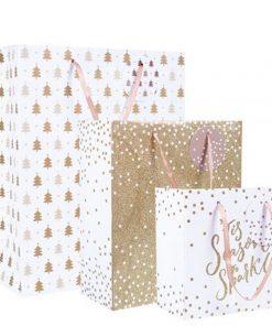 Gold Glitter Christmas Gift Bag Set
