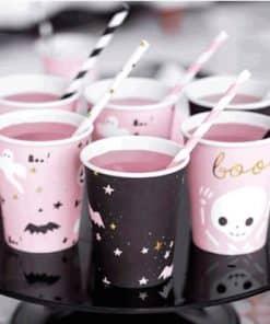 Halloween Pink & Black Paper Cups