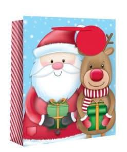 Medium Santa and Rudolph Christmas Gift Bag