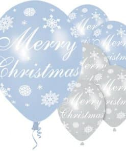 Merry Christmas Blue & Silver Snowflake Balloons