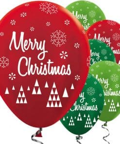 Metallic Red & Green Merry Christmas Balloons