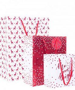 Red Glitter Christmas Gift Bag Set