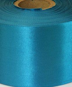 Aqua Turquoise Polyester Satin 10cm Wide Ribbon