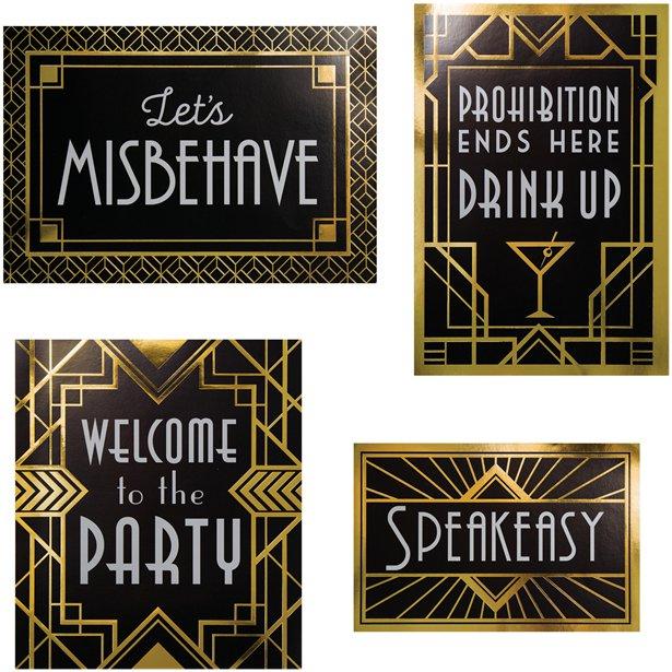 1920s Hollywood Party Art Deco Foil Pick Labels Pk24