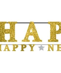 'Happy New Year' Gold Glitter Letter Banner