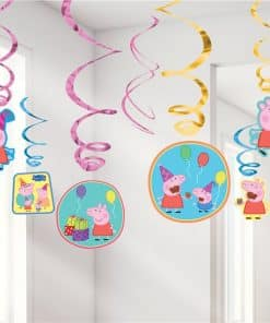 Peppa Pig Party Swirl Decorations