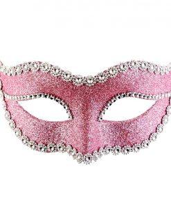 Pink Glitter Masquerade Mask