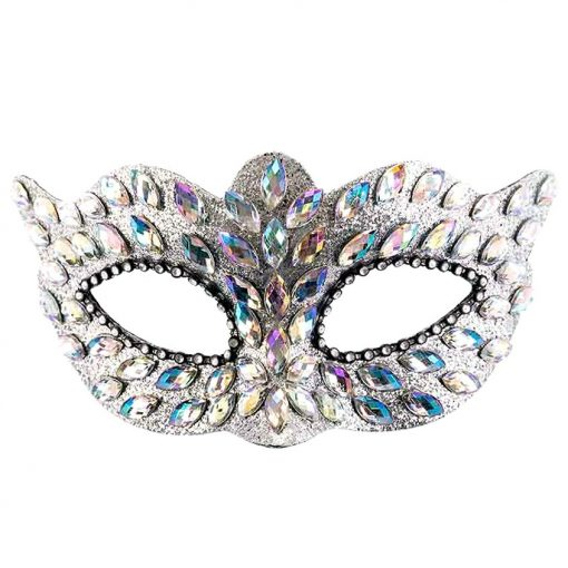Silver Masquerade Mask with Gems & Rhinestones