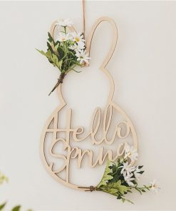 Crazy Daisy Easter Bunny Wooden Wreath
