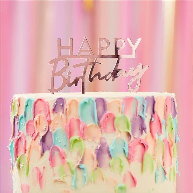 Amazing Happy Birthday Pink Acrylic Cake Topper Cake Decorations Personalised Birthday Cards Paralily Jamesorg