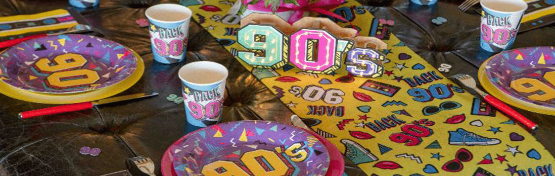 1990s themed party nights & event decorations - 1990 tablescapes